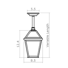 London Lantern 8 in. Wide Solid Stem Exterior Pendant Light