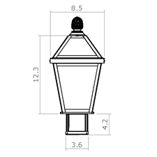 London Lantern 8 in. Wide Exterior Post Light