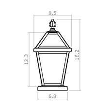 London Lantern 8 in. Wide Exterior Pier Light