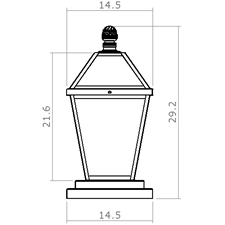 London Lantern 14 in. Wide Exterior Pier Light
