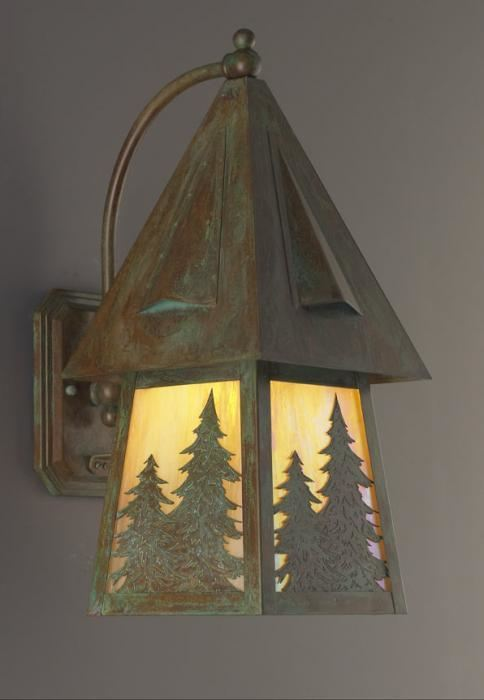 European Country Lantern with Pine Tree Overlay