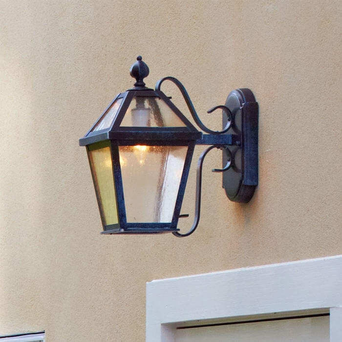 London™ Lantern 8 in. Wide Scrolled Arm Exterior Wall Light