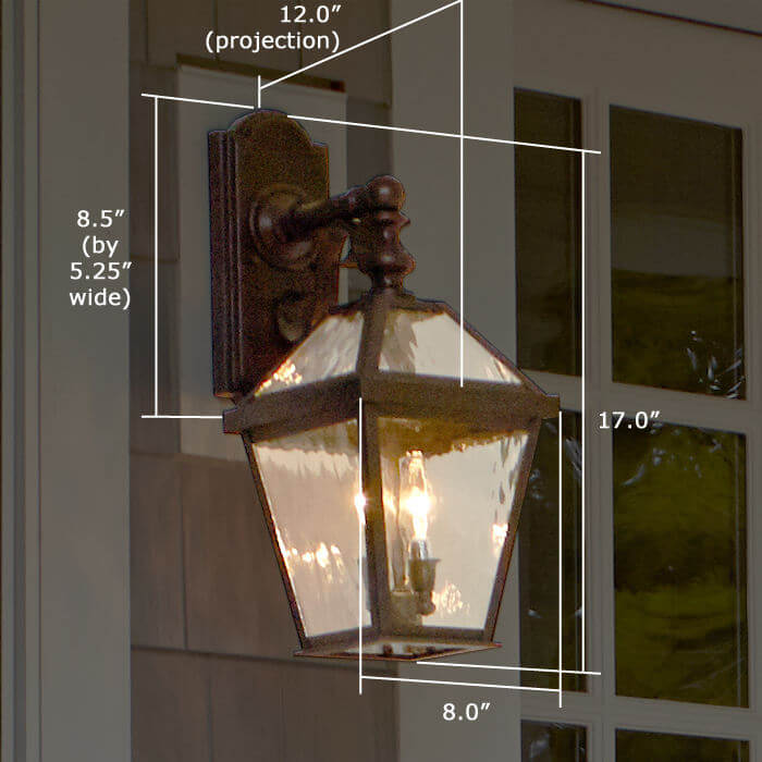 London™ Lantern 8 in. Wide Scrolled Drop Exterior Wall Light