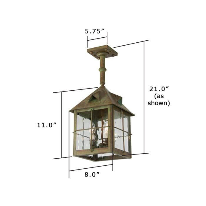 Stonehaven Lantern™ 8 in. Wide Solid Stem Exterior Pendant Light