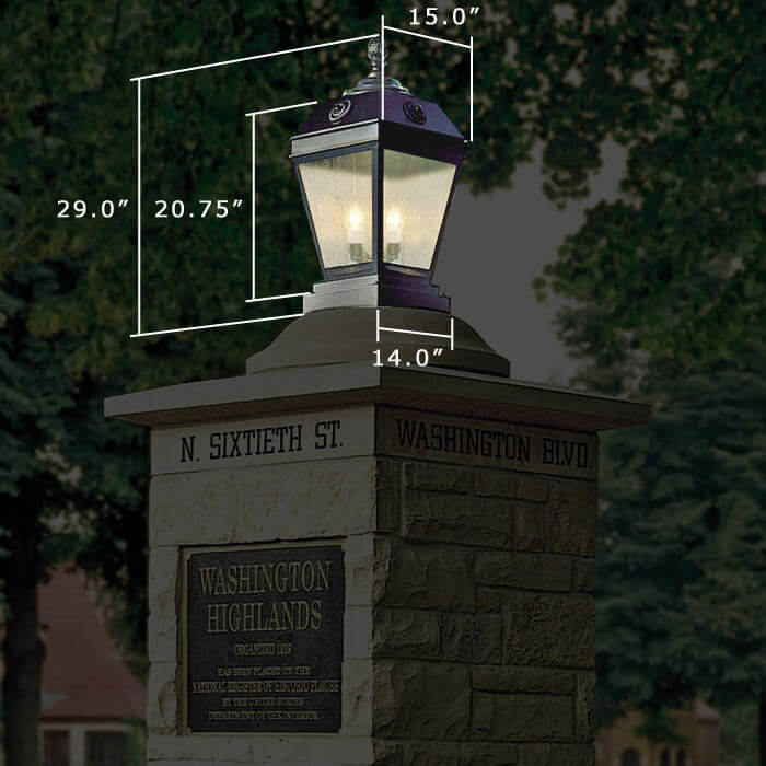 French Country™ Lantern 15 in. Wide Exterior Pier Light