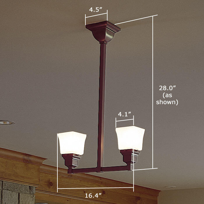 Oak Park™ Two Light Pendant with 2-1/4 in. shade holders up