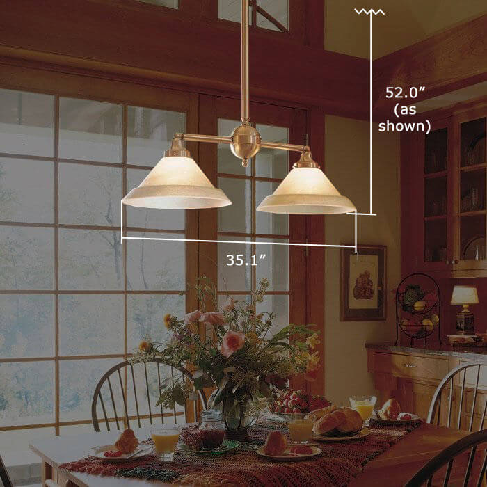 Shoreland™ Two Light Chandelier with 3-1/4 in. shade holders down