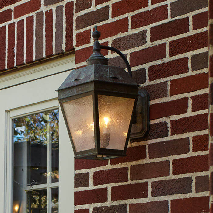 Georgian™ Lantern 9 in. Wide Curved Arm Exterior Wall Light - with cluster