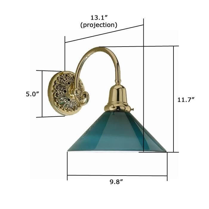 Provence™ One Light Large Curved Arm Sconce with 2-1/4 in. shade holder