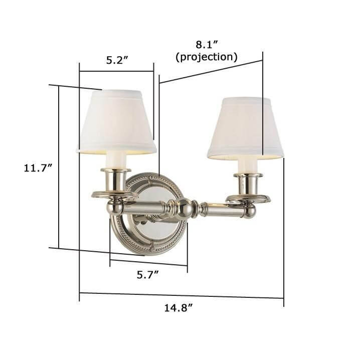 Carlton™ Two Light Straight Arm Sconce with electric candles