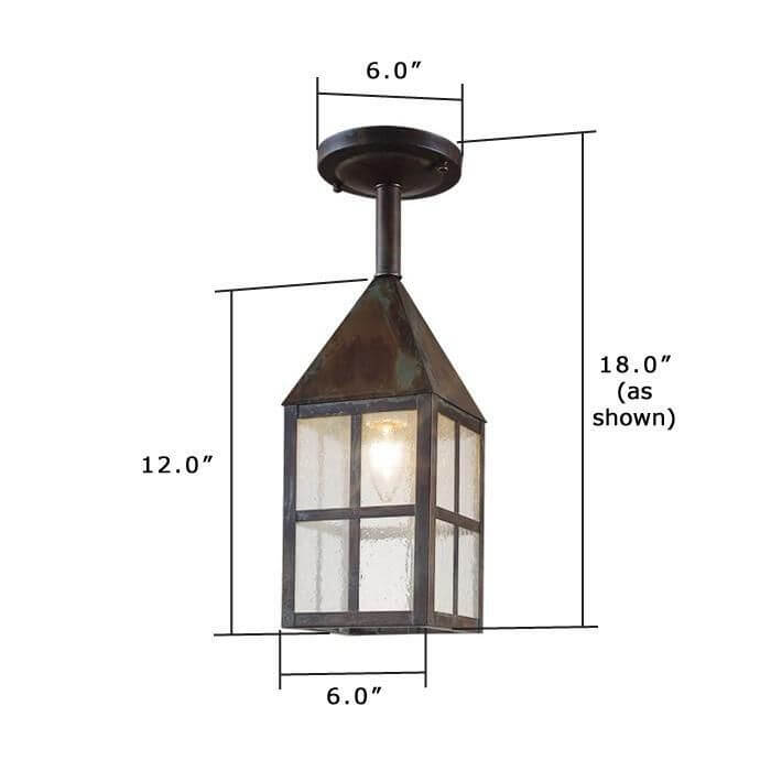 Carriage Lantern™ 6 in. Wide Solid Stem Exterior Pendant Light