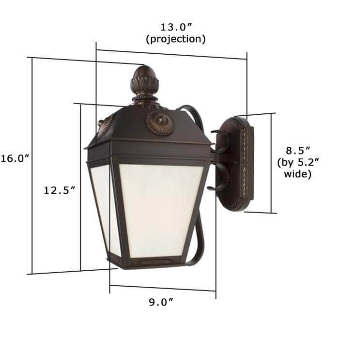 French Country™ Lantern 9 in. Wide Scrolled Arm Exterior Wall Light