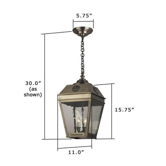 French Country Lantern 11 in. Wide Chain Hung Exterior Pendant Light