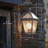 London™ Lantern 8 in. Wide Curved Arm Hotel Patio Sconce
