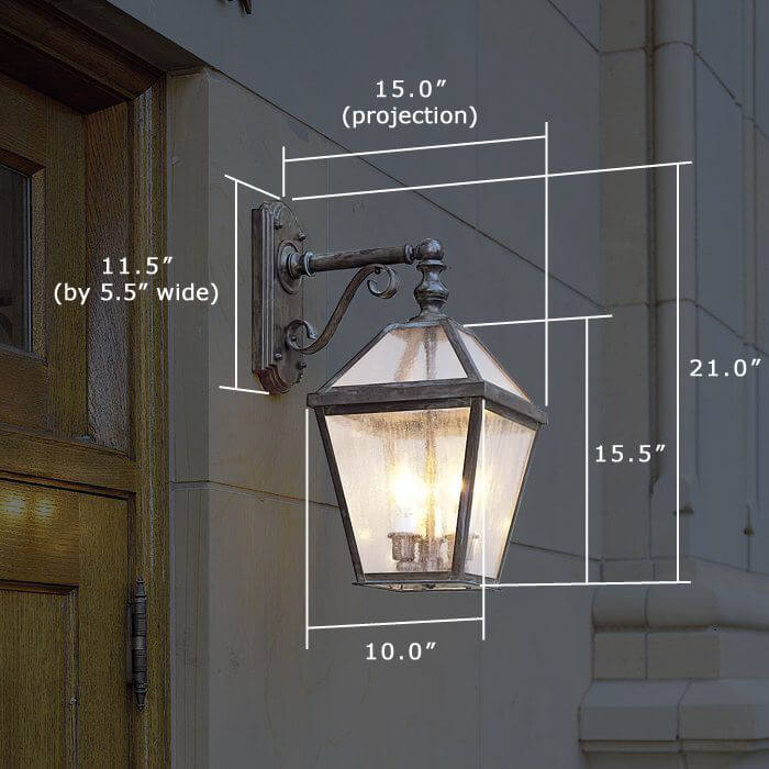 London™ Lantern 10 in. Wide Scrolled Drop Exterior Wall Light