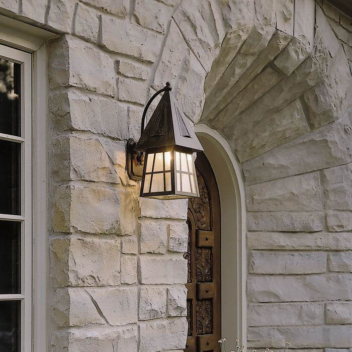 European Country™ Lantern 8 in. Wide Curved Arm Exterior Wall Light