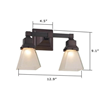 Oak Park™ Two Light Straight Arm Bathrrom Light