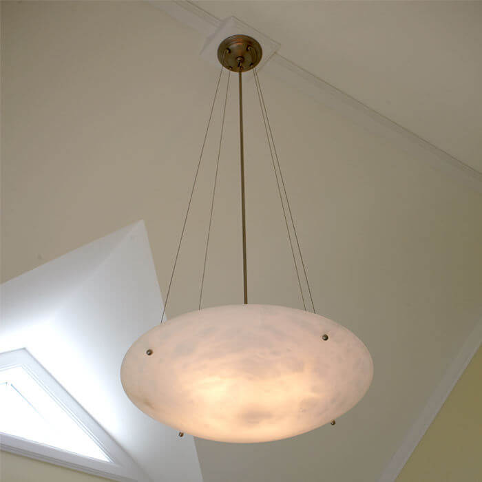 Portfolio: Contemporary Lighting for a Great Room with Cathedral Ceiling
